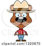 Clipart Of A Cartoon Happy Brown Bear Cowboy Royalty Free Vector Illustration by Cory Thoman