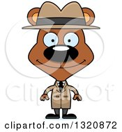Clipart Of A Cartoon Happy Brown Bear Detective Royalty Free Vector Illustration by Cory Thoman