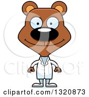 Clipart Of A Cartoon Happy Brown Bear Doctor Royalty Free Vector Illustration