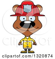 Clipart Of A Cartoon Happy Brown Bear Fireman Royalty Free Vector Illustration by Cory Thoman
