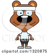 Clipart Of A Cartoon Happy Brown Fitness Bear Royalty Free Vector Illustration by Cory Thoman