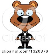 Clipart Of A Cartoon Happy Brown Bear Wedding Groom Royalty Free Vector Illustration by Cory Thoman
