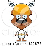 Clipart Of A Cartoon Happy Brown Bear Hermes Royalty Free Vector Illustration by Cory Thoman