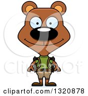 Clipart Of A Cartoon Happy Brown Bear Hiker Royalty Free Vector Illustration by Cory Thoman