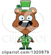 Clipart Of A Cartoon Happy Brown Irish St Patricks Day Bear Royalty Free Vector Illustration