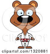 Clipart Of A Cartoon Happy Brown Karate Bear Royalty Free Vector Illustration by Cory Thoman