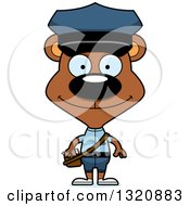 Clipart Of A Cartoon Happy Brown Bear Mail Man Royalty Free Vector Illustration