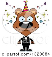 Clipart Of A Cartoon Happy Brown New Year Party Bear Royalty Free Vector Illustration by Cory Thoman
