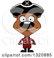 Clipart Of A Cartoon Happy Brown Pirate Bear Royalty Free Vector Illustration