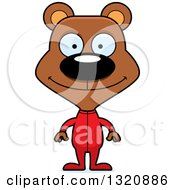 Clipart Of A Cartoon Happy Brown Bear In Pajamas Royalty Free Vector Illustration by Cory Thoman