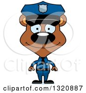 Clipart Of A Cartoon Happy Brown Bear Police Officer Royalty Free Vector Illustration by Cory Thoman