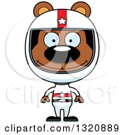 Clipart Of A Cartoon Happy Brown Bear Racer Royalty Free Vector Illustration