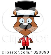 Clipart Of A Cartoon Happy Brown Bear Cirucs Ringmaster Royalty Free Vector Illustration