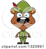 Clipart Of A Cartoon Happy Brown Robin Hood Bear Royalty Free Vector Illustration by Cory Thoman