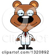 Clipart Of A Cartoon Happy Brown Scientist Bear Royalty Free Vector Illustration by Cory Thoman