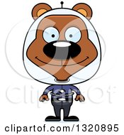 Clipart Of A Cartoon Happy Brown Space Bear Royalty Free Vector Illustration