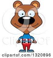 Clipart Of A Cartoon Happy Brown Bear Super Hero Royalty Free Vector Illustration