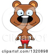 Clipart Of A Cartoon Happy Brown Bear In Swim Shorts Royalty Free Vector Illustration by Cory Thoman