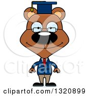 Clipart Of A Cartoon Happy Brown Professor Bear Royalty Free Vector Illustration by Cory Thoman
