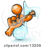 Orange Man Sitting On A Music Note And Playing A Guitar