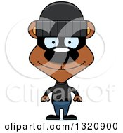 Clipart Of A Cartoon Happy Brown Robber Bear Royalty Free Vector Illustration