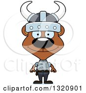 Clipart Of A Cartoon Happy Brown Viking Bear Royalty Free Vector Illustration by Cory Thoman