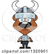 Clipart Of A Cartoon Happy Brown Viking Bear Royalty Free Vector Illustration by Cory Thoman
