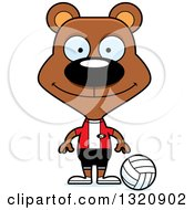 Clipart Of A Cartoon Happy Brown Bear Volleyball Player Royalty Free Vector Illustration by Cory Thoman