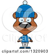Clipart Of A Cartoon Happy Brown Bear In Winter Clothes Royalty Free Vector Illustration by Cory Thoman