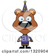 Clipart Of A Cartoon Happy Brown Bear Wizard Royalty Free Vector Illustration by Cory Thoman