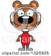 Cartoon Happy Brown Bear Wrestler