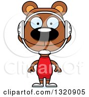 Clipart Of A Cartoon Happy Brown Bear Wrestler Royalty Free Vector Illustration