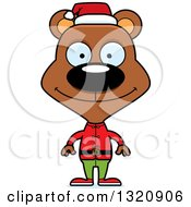 Clipart Of A Cartoon Happy Brown Christmas Elf Bear Royalty Free Vector Illustration