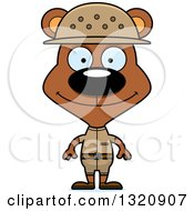 Clipart Of A Cartoon Happy Brown Zookeeper Bear Royalty Free Vector Illustration