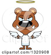 Clipart Of A Cartoon Angry Brown Angel Bear Royalty Free Vector Illustration