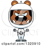 Clipart Of A Cartoon Angry Brown Bear Astronaut Royalty Free Vector Illustration