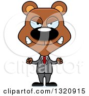 Clipart Of A Cartoon Angry Brown Bear Business Man Royalty Free Vector Illustration