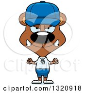 Clipart Of A Cartoon Angry Brown Bear Coach Royalty Free Vector Illustration