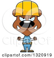 Cartoon Angry Brown Bear Construction Worker
