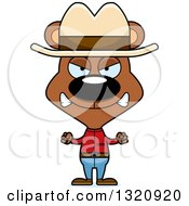 Clipart Of A Cartoon Angry Brown Bear Cowboy Royalty Free Vector Illustration
