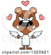Clipart Of A Cartoon Angry Brown Bear Cupid Royalty Free Vector Illustration