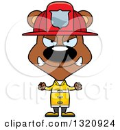 Clipart Of A Cartoon Angry Brown Bear Fireman Royalty Free Vector Illustration
