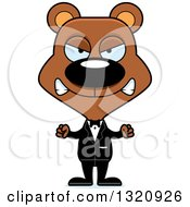 Clipart Of A Cartoon Angry Brown Bear Wedding Groom Royalty Free Vector Illustration