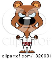 Clipart Of A Cartoon Angry Brown Karate Bear Royalty Free Vector Illustration