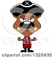 Clipart Of A Cartoon Angry Brown Pirate Bear Royalty Free Vector Illustration