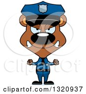 Clipart Of A Cartoon Angry Brown Bear Police Officer Royalty Free Vector Illustration