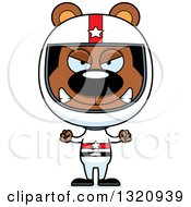 Clipart Of A Cartoon Angry Brown Bear Race Car Driver Royalty Free Vector Illustration