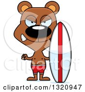 Clipart Of A Cartoon Angry Brown Bear Surfer Royalty Free Vector Illustration