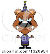 Clipart Of A Cartoon Angry Brown Bear Wizard Royalty Free Vector Illustration