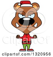 Clipart Of A Cartoon Angry Brown Bear Christmas Elf Royalty Free Vector Illustration